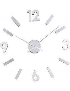 Reloj Números Adhesivos Plateado