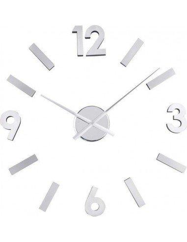 Reloj pared números adhesivos plateado