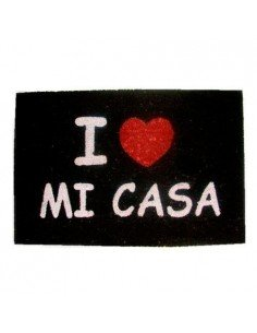 Felpudo Love Mi Casa Negro