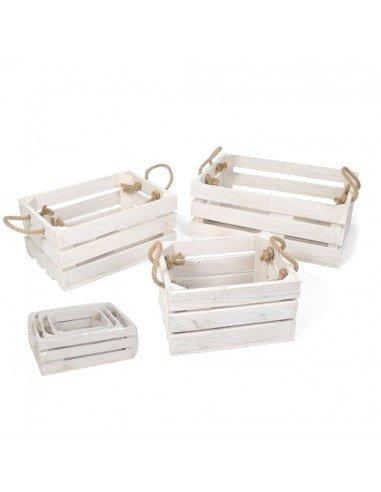 Set 3 Cajas Madera Blanca