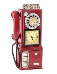 Reloj Teléfono Vintage Rojo